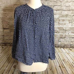 Boden Button Up Top US Size 10 Blue/White Cherry